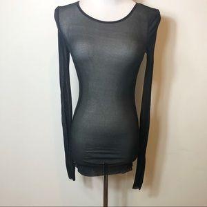COS black long sleeve mesh top